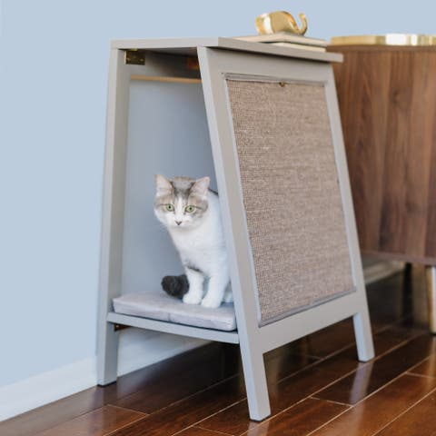 A-Frame Cat Bed with Scratcher End Table - Smoke