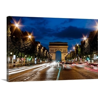 """Champs Elysees and Arc de Triomphe at dusk."" Canvas Wall Art"