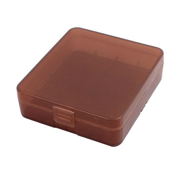 83mmx74mmx23mm Hard Plastic Battery Storage Case Holder Organizer Brown