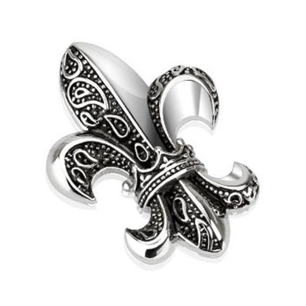 Jester King Royal Fleur De Lis Stainless Steel Pendant (26 mm Width)