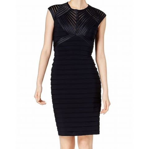Betsy & Adam Blue Womens Size 12P Petite Open-Back Sheath Dress