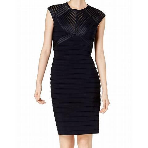 Betsy & Adam Blue Womens Size 4P Petite Illusion Sheath Dress