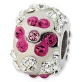 Sterling Silver Reflections White & Pink Crystal Flower Bead - Thumbnail 0