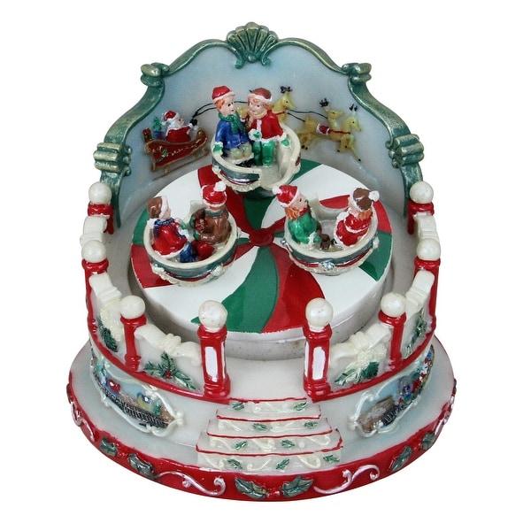 "5"" Animated Christmas Ride Figurine Winter Scene Rotating Music Box - RED"