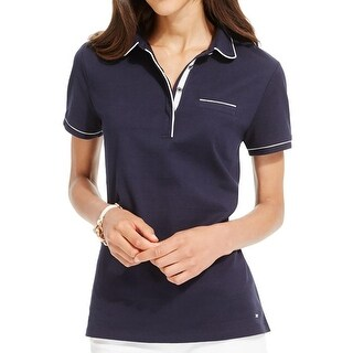 Tommy Hilfiger Womens Polo Top Pipe Trim Short Sleeves