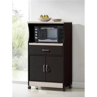 Hodedah HIK77 CHOC-GREY Microwave Cart - Chocolate, Grey