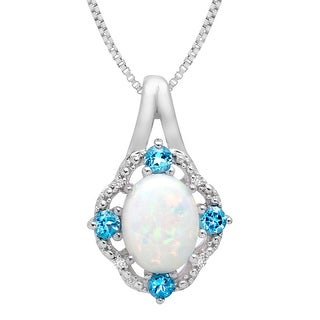 1 ct Created Opal and 1/6 ct Swiss Blue Topaz Pendant with Diamonds in Sterling Silver - White