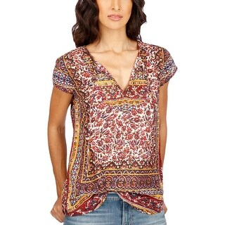 Lucky Brand Womens Casual Top Embellished Printed