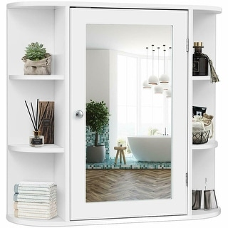 Gymax Bathroom White finish Multipurpose Mount Wall Surface Storage Cabinet Mirror