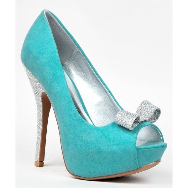 Qupid Onyx-139 Peep Toe Bow Tip Glitter High Heel Party Platform Stiletto Pum... - Black