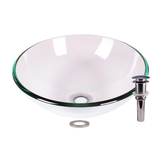 JANO Clear Tempered Glass Vessel Sink With Pop Up Drain