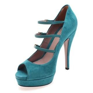 Gucci Women's Triple Strap Suede Peep Toe Platform Pumps Turquoise