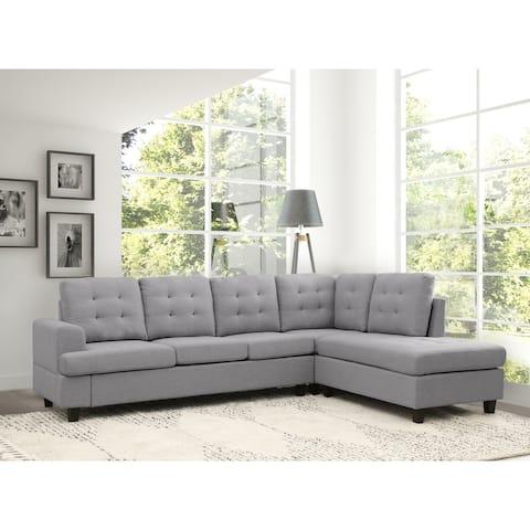 Abbyson Kittridge Tufted Fabric Sectional, Grey