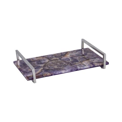 "14"" Purple Amethyst Rectangular Serving Tray with Metallic Silver Handle"