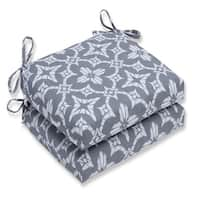 """Set of 2 Aspidoras Gray Outdoor Patio Chair Seat Cushions with Ties 18.5"""" - White"""