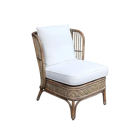 East at Main Samoa Rattan Chair with White Seat Back Cushion