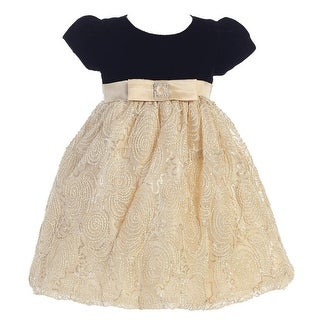 Baby Girls Black Gold Glitter Velvet Corded Tulle Occasion Dress 3-24M