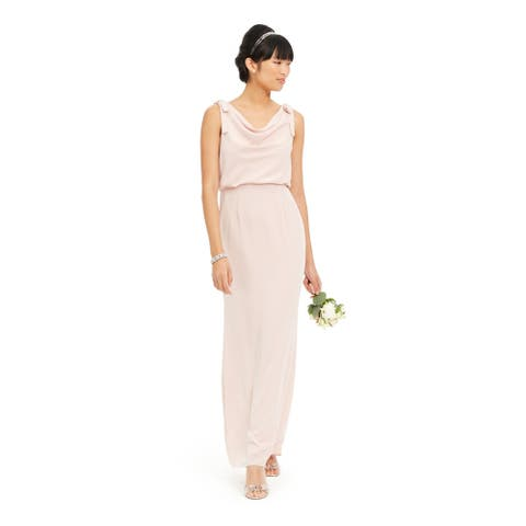 ADRIANNA PAPELL Pink Sleeveless Maxi Straight leg Dress 2