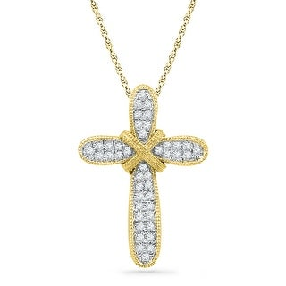 Cross Pendant 10k Yellow Gold With Diamonds 0.16Ctw By MidwestJewellery - White