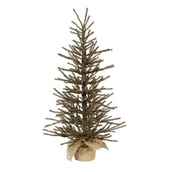"18"" x 12"" Vienna Twig Artificial Christmas Tree in Burlap Base - Unlit - green"
