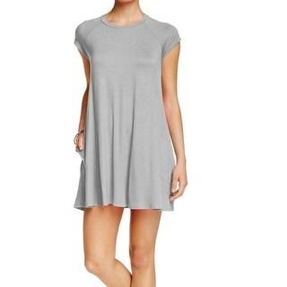 Soprano NEW Gray Heathered Women's Size Small S Capsleeve Sheath Dress