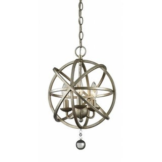 Z-Lite 415-12- 3 Light Pendant Antique Silver + Clear Crystal Steel