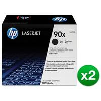 HP 90X High Yield Black Original LaserJet Toner Cartridges (CE390X)(2-Pack)