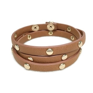 Potissi Circle Metal Stud Genuine Leather Wrap Bracelet