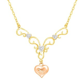 Heart Garland Drop Necklace with Diamond in 18K Two-Tone Gold-Plated Sterling Silver
