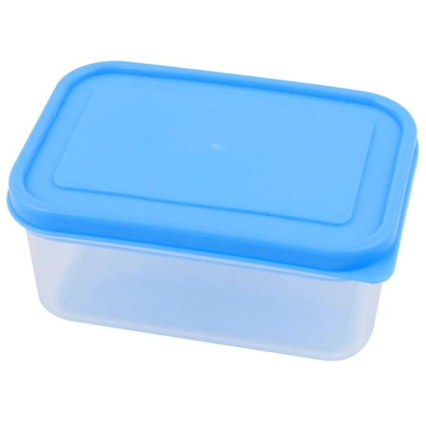 300mL Blue Cover Clear PP Vacuum Bento Crisper Food Storage Container Lunch Box