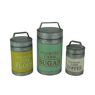 Country Farmhouse Galvanized Zinc Finish Canisters Set of 3