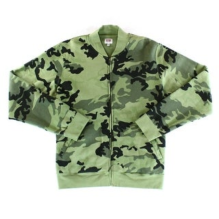 Obey NEW Green Mens Size XL Camo Print Mock Neck Full Zip Sweater