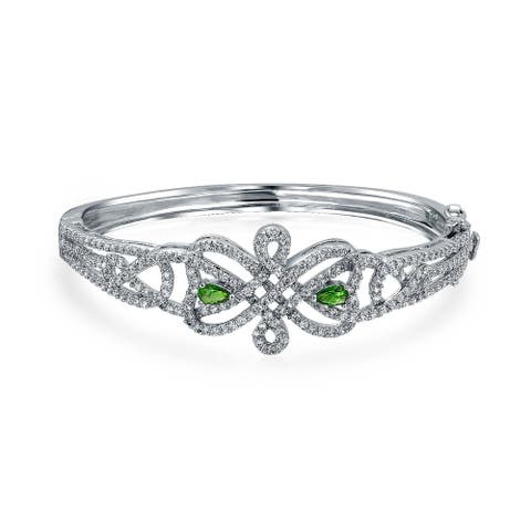 Celtic Love Knot Bangle Bracelet White Pave Green CZ Silver Plated - 6.5