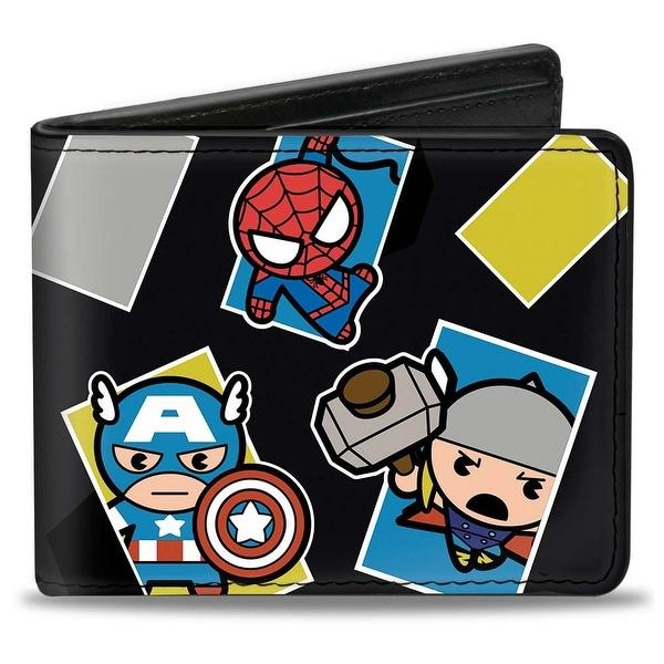 Marvel Universe Kawaii Avengers Action Poses Black Multi Color Bi Fold Wallet - One Size Fits most