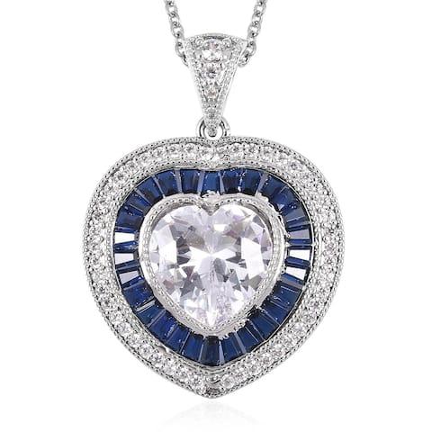Cubic Zirconia Silvertone Heart Pendant Necklace Steel Chain 20 inch - Size 20''