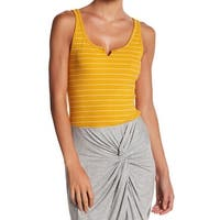 Socialite Yellow Womens Size XL Scoop Neck Lettuce Edge Striped Knit Top 636