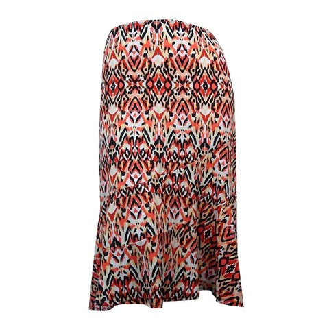 NY Collection Women's Ikat Print Jersey A-Line Skirt