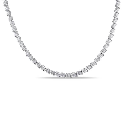 Miadora 1/2ct TDW Diamond Necklace in Sterling Silver - 17 in x 4.9 mm