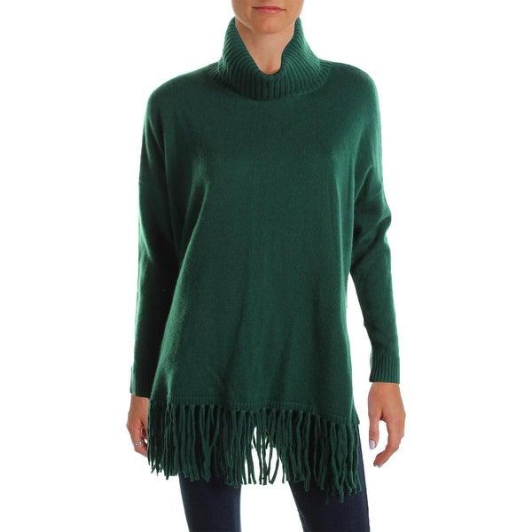 Lauren Ralph Lauren Womens Turtleneck Sweater Wool Fringe
