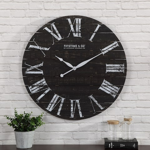 FirsTime & Co.® Midnight Farmhouse Planks Wall Clock, American Crafted, Distressed Black, Fir Wood, 29 x 2 x 29 in