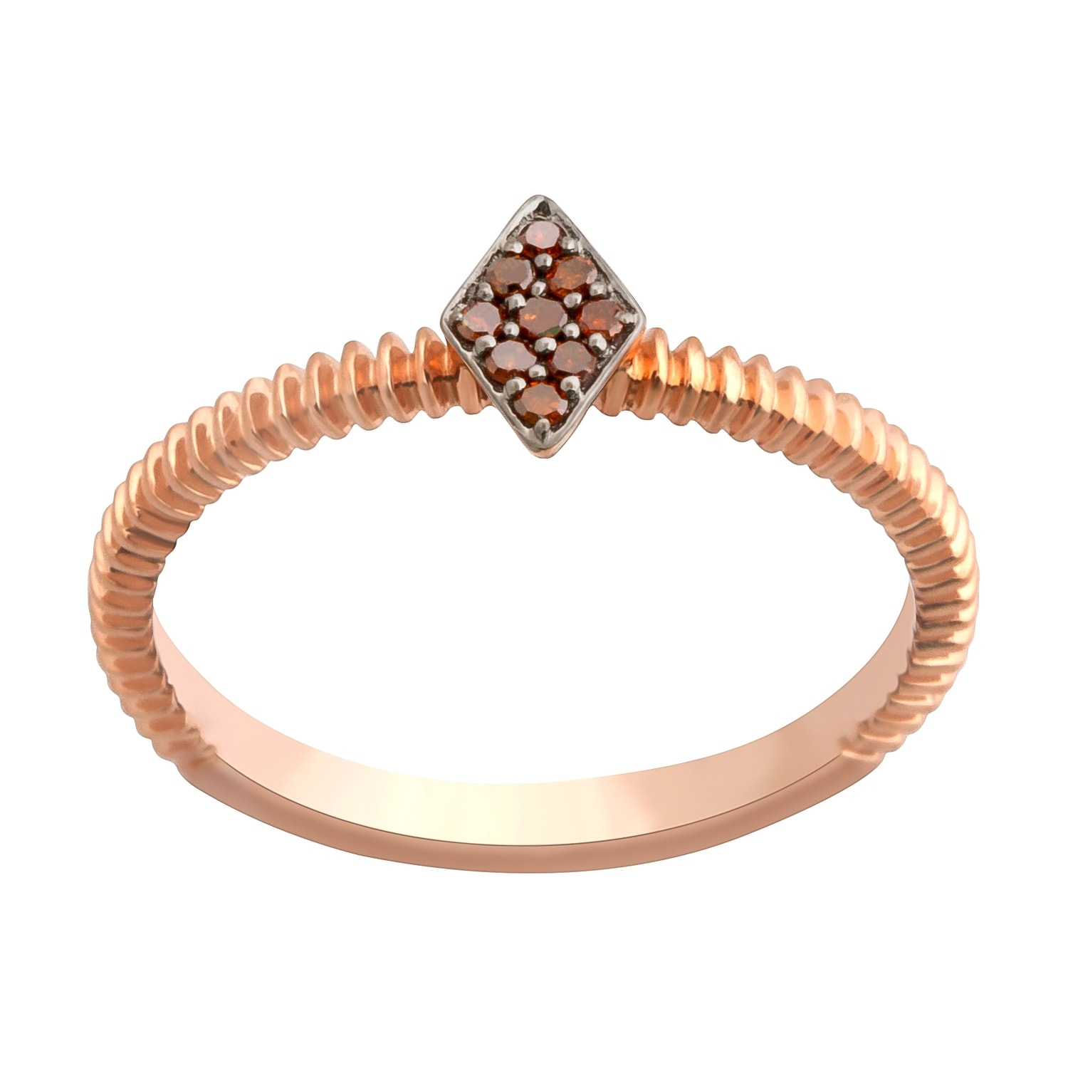 Prism Jewel 0.06Ct Round Cognac Diamond Stylist Ring - Thumbnail 0