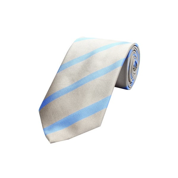 Versace Men's Silk Neck Tie N2040-0583 Gold with Light Blue stripes