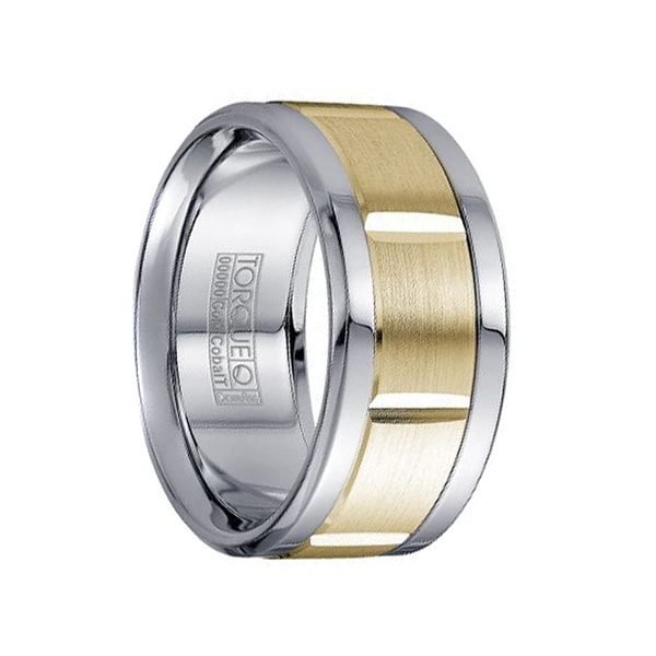 Extra Wide White Cobalt Men's Wedding Band with 14k Yellow Gold Grooved Inlay by Crown Ring - 10.5mm