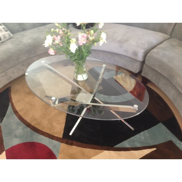Zila Contemporary Brushed Nickel Oval Coffee Table With Gl