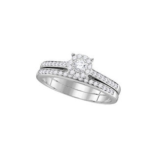 10k White Gold Princess Natural Diamond Womens Size 6 Wedding Bridal Ring Set 1.00 Cttw