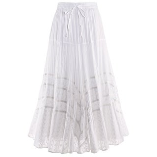Catalog Classics Women's Embroidered Full Circle Maxi Skirt - White Tone-on-Tone