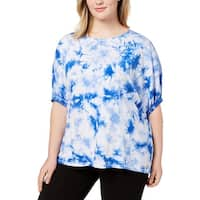 Calvin Klein Performance Womens Plus Pullover Top Relaxed Tie-Dye