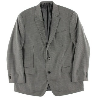 Michael Kors Mens Houndstooth Notch Lapel Two-Button Suit Jacket - 44R