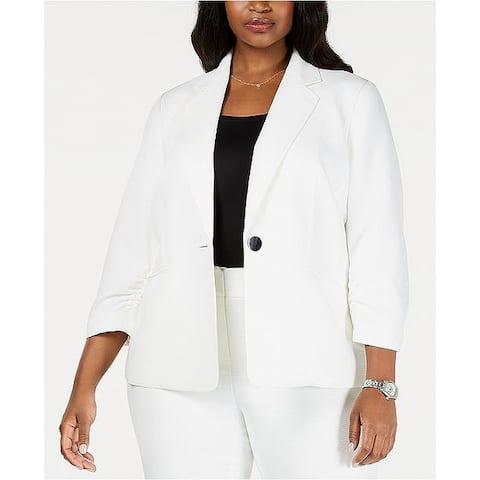 Kasper Women's Jacket White Size 22W Plus Single-Button Textured Solid