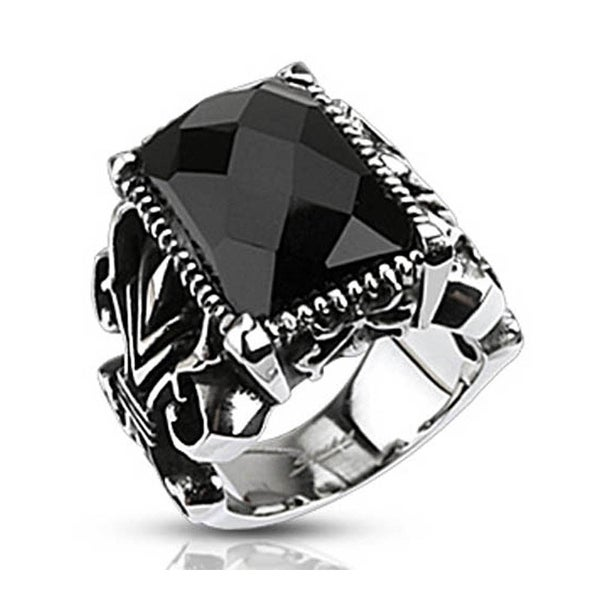 Stainless Steel Rectangle Onyx Faceted Stone set Gothic Ring